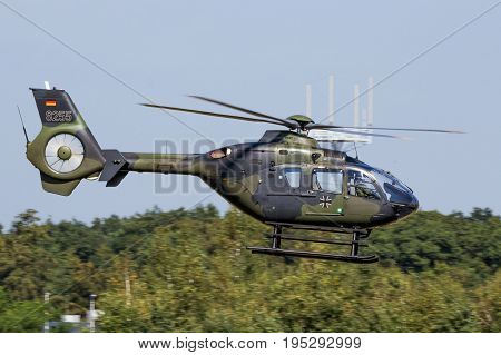 Military Ec-135 Helicopter Flying
