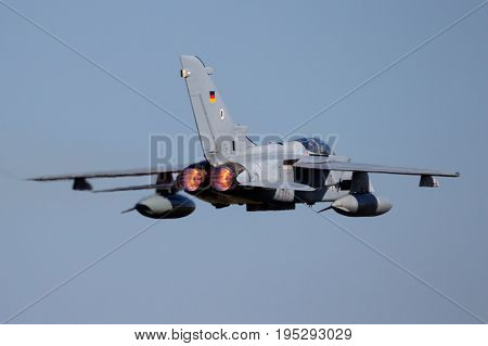 Military Fighter Jet Plane Afterburner