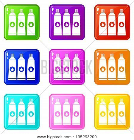 Three tubes with paint icons of 9 color set isolated vector illustration