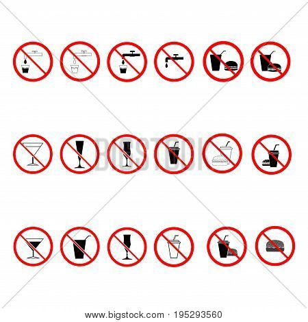 No food and drink sign. Silhouette hamburger and cup in red circle. Icon no meal on white background. Label no eating. Symbol forbidden fast food for poster. Mark warning. Flat vector illustration