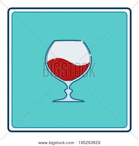 Red wine in goblet in blue square. Illustration wineglass for celebration and alcohol. Rounded shape tumbler. Glass for cognac brandyliquor bordeaux. Design flat element. Vector illustration