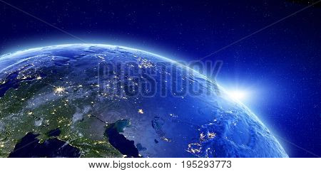 City lights - Eurasia, Russia. Elements of this image furnished by NASA