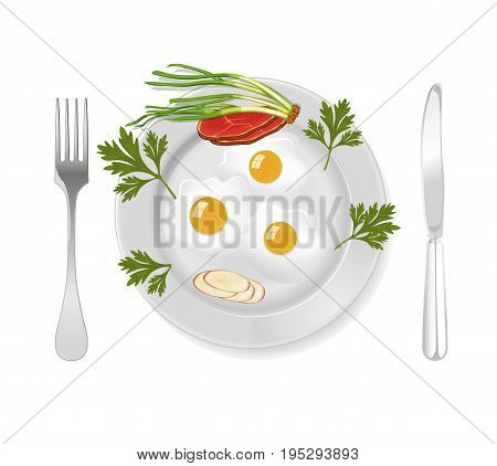 Bacon and eggs for breakfast, vector art illustration.
