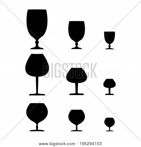 Wine glass black set on white background. Illustration collection silhouette wineglass for celebration and alcohol. Glass for cognac brandy rumliquor bordeaux. Design element.Vector illustration.