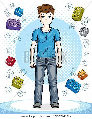 Teen cute little boy standing wearing fashionable casual clothes. Vector human illustration. Childhood lifestyle clip art.