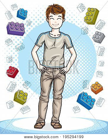 Young teen boy cute children standing wearing fashionable casual clothes. Vector character. Childhood lifestyle clip art.
