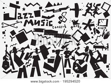 music band vector icon set , design elements