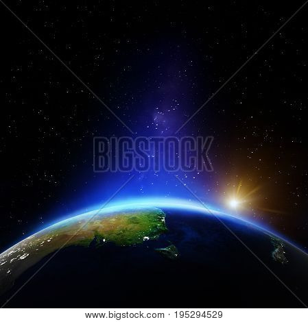 Australia night. Elements of this image furnished by NASA