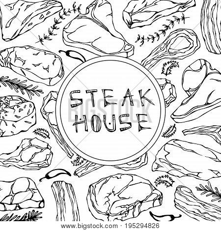 Steak Shop Card with Meat Products and Herbs.Restaurant Menu or Butcher Market Template. Beef Steak, Lamb, Pork Rib. Realistic Hand Drawn Sketch. Vector Illustration Isolated On a White Background