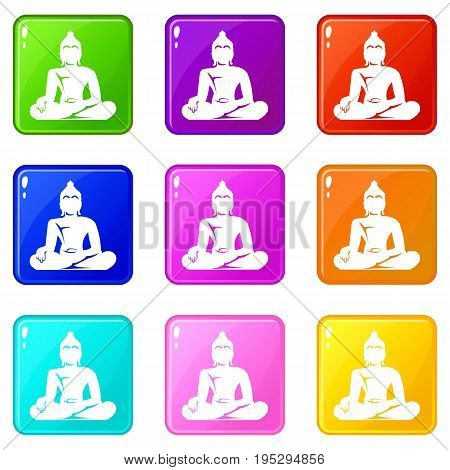 Statue of Buddha sitting in lotus pose icons of 9 color set isolated vector illustration