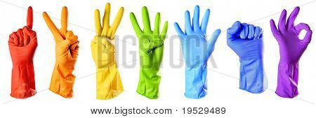 rainbow color rubber gloves on white with clipping path