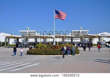 FLORIDA, USA - DEC 20, 2010: Kennedy Space Center Visitor Complex main entrance in Cape Canaveral, Florida, USA.