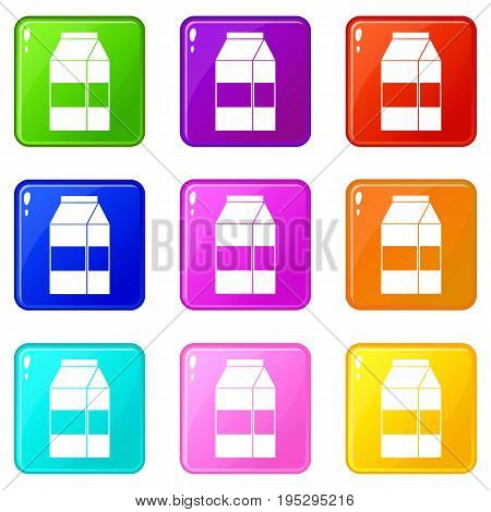 Box of milk icons of 9 color set isolated vector illustration