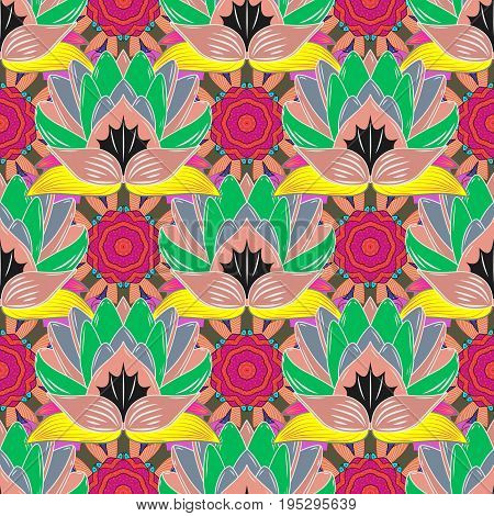 Seamless Floral Pattern in Vector illustration. Flowers on colorful background in watercolor style.