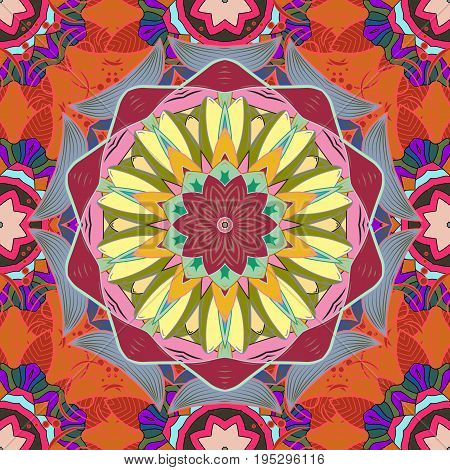 Vector Mandala. Boho style flower seamless pattern. Tiled mandala design best for print fabric or papper and more. Background.