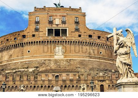 Castel Sant Angelo Vatican Castle Bernini Angel Ponte Bridge Sant Angelo Rome Italy. Castle was built in 1277 on top of Hadrian's tomb. Castle's purpose is to defend the Pope