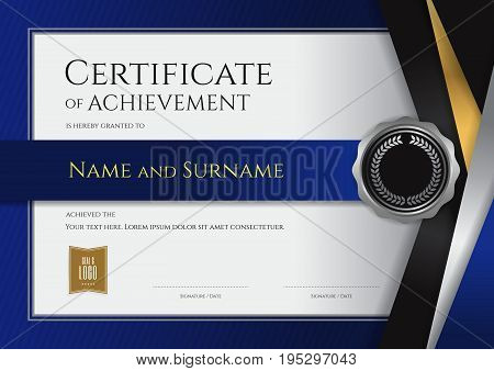 Luxury certificate template with elegant border frame Diploma design for graduation or completion