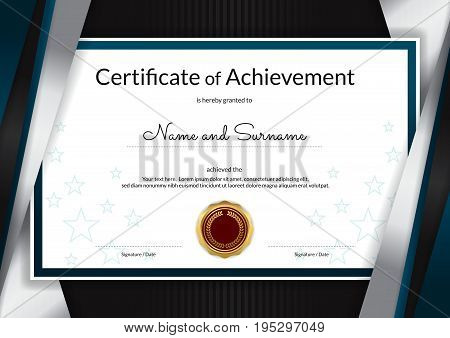 Luxury certificate template with elegant silver blue border frame Diploma design for graduation or completion