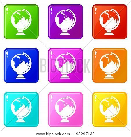 Closed book icons of 9 color set isolated vector illustration