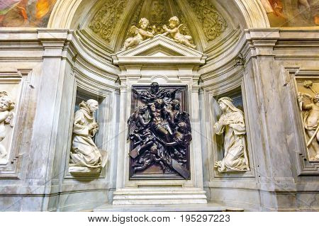 ROME, ITALY - JANUARY 18, 2017 Christ Down Cross Statue Santa Maria Della Pace Church Rome Italy. Church built in 1400 and 1500s by Pope Sixtus IV on the spot where a painted Madonna was pierced and blood came out.