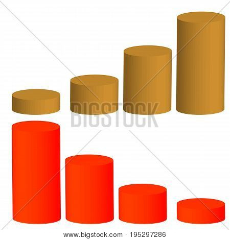 Graphic illustration of growth and decline success or collapse. Volumetric columns of profit or loss.