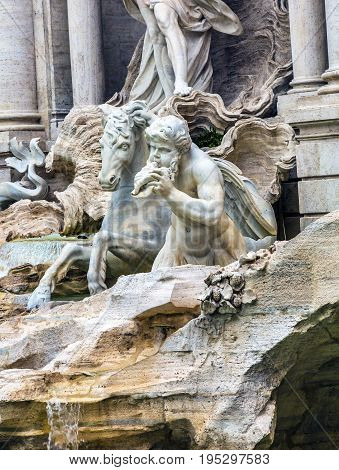Nymph Seahorse Statues Trevi Fountain Rome Italy. Nicola Salvi created the fountain and was constructed in 1762.
