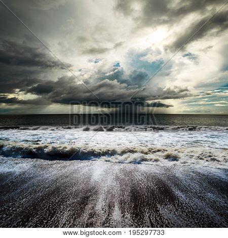 Sea storm. Tropical hurricane cyclone image background