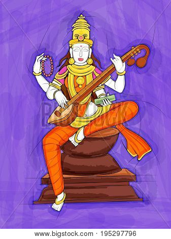 Vector design of Abstract Statue painting of Indian Goddess Saraswati sculpture
