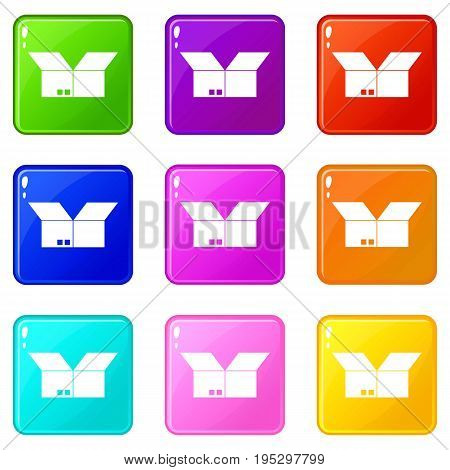 Opened cardboard box icons of 9 color set isolated vector illustration