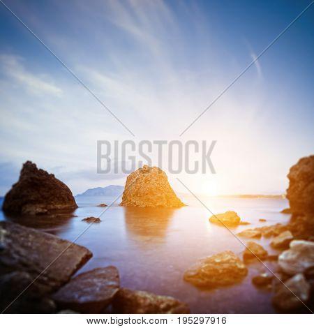 Scaur and sunrise. Long exposure shot outdoor landscape