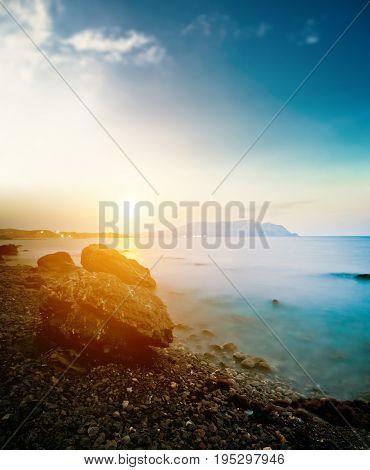 Beautiful sea. Long exposure shot outdoor landscape