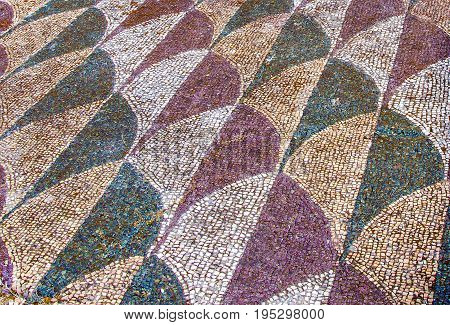 Decorated mosaic floor in the roman Caracalla Thermae Baths in Rome Italy
