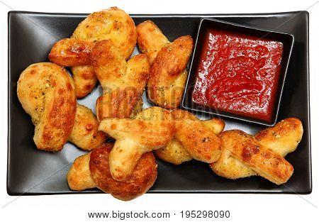 Mini Twisted Parmesan Garlic Breads with Marinara Sauce