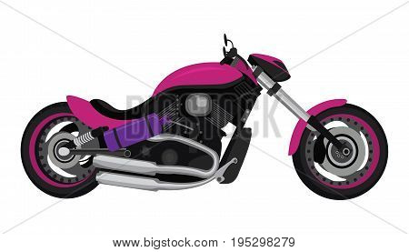 Motorcycle badge or badge. Vector bike or motorcycle on white isolated background.