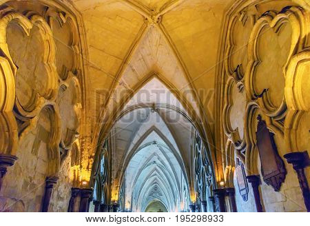 LONDON, ENGLAND - JANUARY 16, 2017 Cloisters Interior Arches 13th Century Westminster Abbey Church London England. Westminister Abbey has been the burial place of Britain's monarchs since the 11th century and is the setting for many coronations and weddin