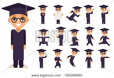 Graduation Cap Excellent Diploma Certificate Scroll Student School Genius Clever Smart Boy Uniform Suit Goggles 3d Character Vector Illustration