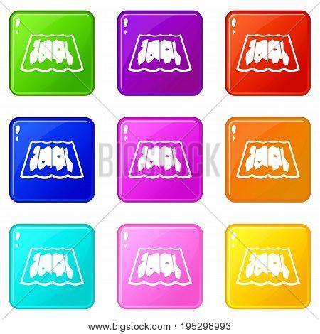 Map icons of 9 color set isolated vector illustration