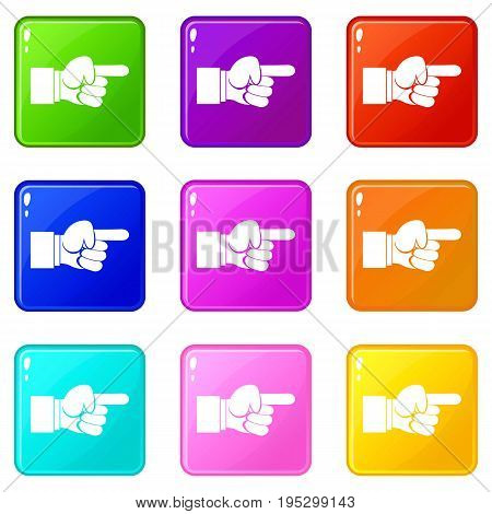 Pointing hand gesture icons of 9 color set isolated vector illustration