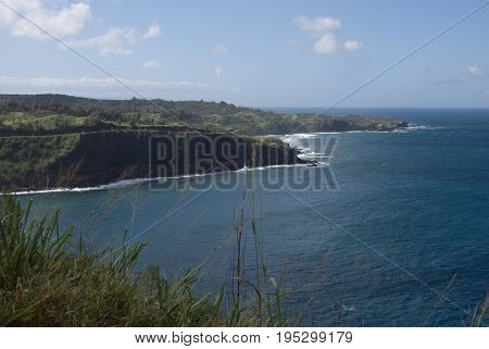 View of Beautiful views of Maui North coast, taken from famous winding Road to Hana. Maui, Hawaii
