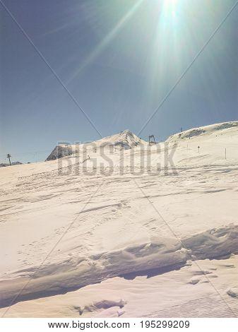 Ski Slopes On HinterTux Glacier In Alps Austria