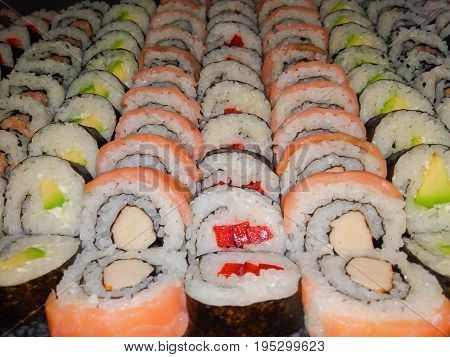 sushi rolls ca be used as a background
