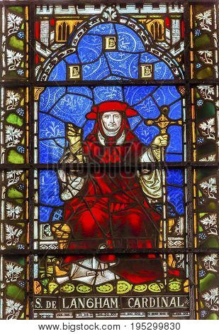 LONDON, ENGLAND - JANUARY 16, 2017 Cardinal Simon Langham Stained Glass 13th Century Chapter House Westminster Abbey Church London England. Cardinal Simon Langham was Archbishop of Canterbury from 1366 to 1368. Westminister Abbey has been the burial place