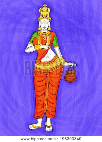 Vector design of Vintage statue of Indian Goddess Brahmacharini sculpture one of avatar from Navadurga engraved on stone