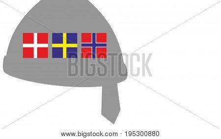 Illustration of Scandinavia. Vikings concept. Nordics countries. Helmet shape. White background