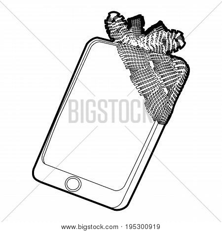 Gadget in glued reparation icon. Outline illustration of gadget in glued reparation vector icon for web design