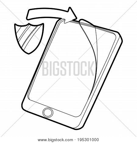 Gadget wtih tempered glass protection icon. Outline illustration of gadget with tempered glass protection vector icon for web design