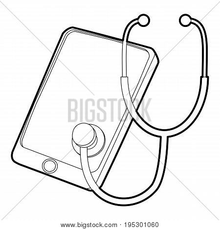 Gadget in diagnostic process icon. Outline illustration of gadget in diagnostic process vector icon for web design