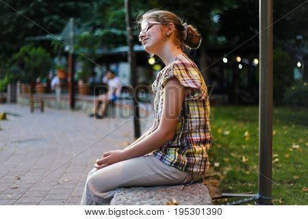 Girl On The Street, Thoughtful Facial Expressions, Eve, Sunset, Park