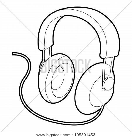 Headset icon. Outline illustration of headset vector icon for web design