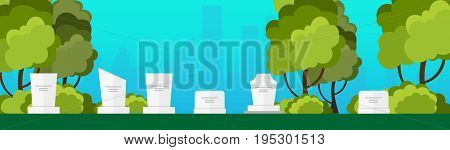 Funeral Sevices And Funeral Agency Banner. Cemetery. Vector Illustration.